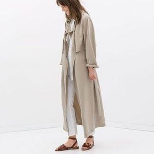 Zara Studio Size M Long Loose Fit Trenchcoat